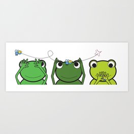 See no evil, Hear no evil, Speak no evil - Frogs Art Print