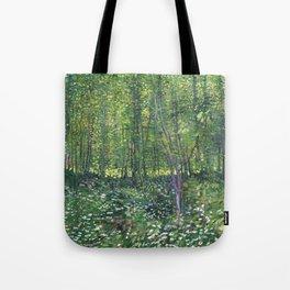 1887-Vincent van Gogh-Trees and undergrowth Tote Bag