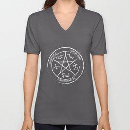 Supernatural's Devil's Trap (white on black) Unisex V-Neck