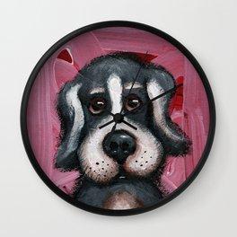 Sad tricolor puppy dog Wall Clock