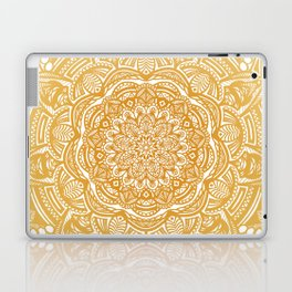 Golden Mustard Yellow Orange Ethnic Mandala Detailed Laptop & iPad Skin