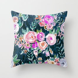 Midnight PROFUSION FLORAL Throw Pillow