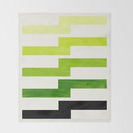 Minimalist Mid Century Modern Sap Green Watercolor Painting Lightning Bolt Zig Zag Pattern With Blac Throw Blanket