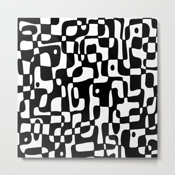 Soft shapes in black and white Metal Print