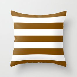 Dark bronze - solid color - white stripes pattern Throw Pillow