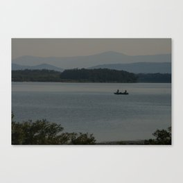 Fishing on Danube river Canvas Print