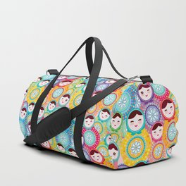 Russian dolls matryoshka, pink blue green colors colorful bright pattern Duffle Bag