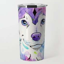 Happy - Siberian Husky Watercolor Art Travel Mug