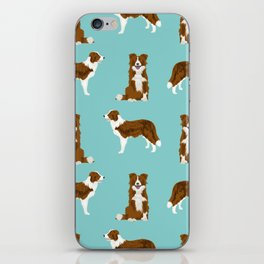Border Collie red coat dog breed pet friendly gifts for collie lovers iPhone Skin