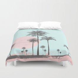 Beachfront palm tree soft pastel sunset graphic Duvet Cover
