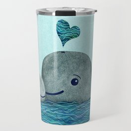 Whale Mom and Baby with Hearts in Gray and Turquoise Travel Mug