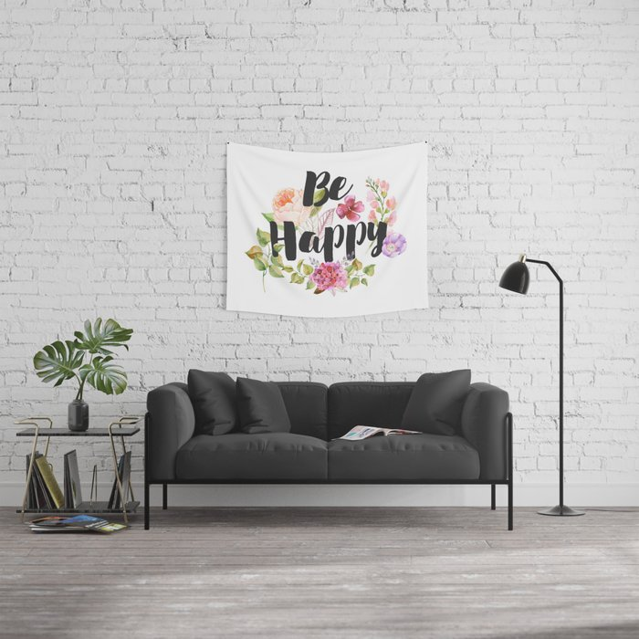 Be happy Inspirational Quote Wall Tapestry