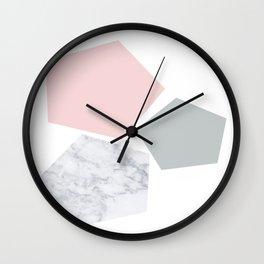 Blush, gray & marble geo Wall Clock