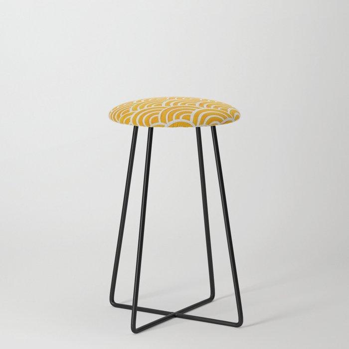 Japanese Seigaiha Wave – Marigold Palette Counter Stool