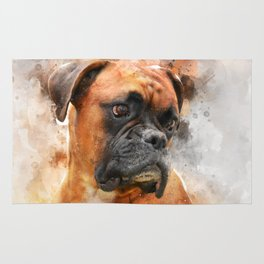 Boxer Dog Thinking Rug