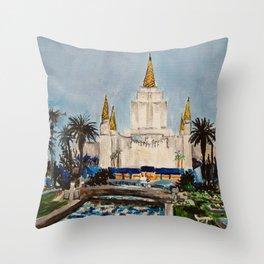 Oakland California LDS Temple Dusk Throw Pillow