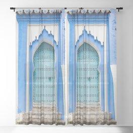 Doors - Chefchaouen, Morocco Sheer Curtain