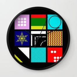 Eclectic 1 - Random collage of 9 bold colourful patterns in an abstract style Wall Clock