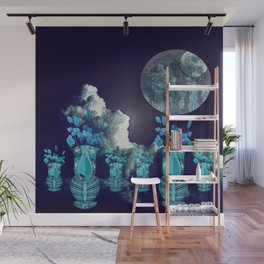 Moon with Clouds and Flowers Still Life Landscape Wall Mural