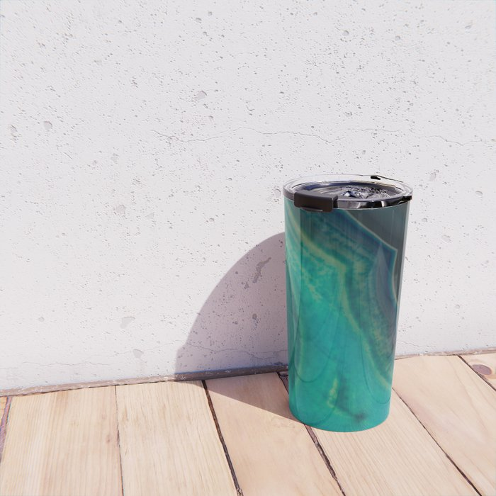 Lake Like Teal & Brown Agate Travel Mug