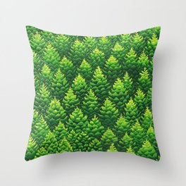 Evergreen Trees Watercolor Painting Throw Pillow