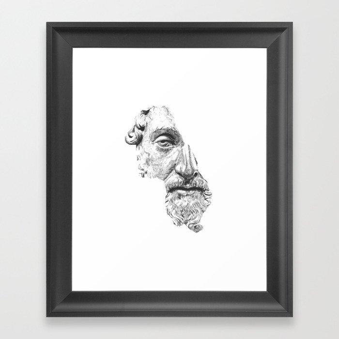 MARCUS AURELIUS ANTONINUS AUGUSTUS / black / white Framed Art Print