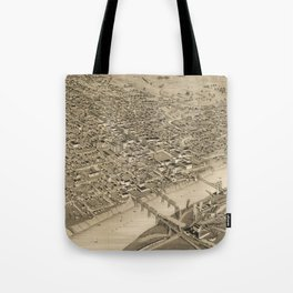 Vintage Pictorial Map of Waco Texas (1886) Tote Bag