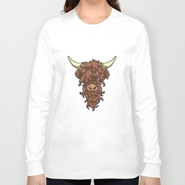 Scottish Highland Cow Wild Hairstyle Gift Long Sleeve T-shirt