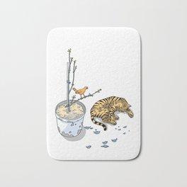 Sleeping cat and singing bird - Animal Lover - Nature -  Tranquility Bath Mat