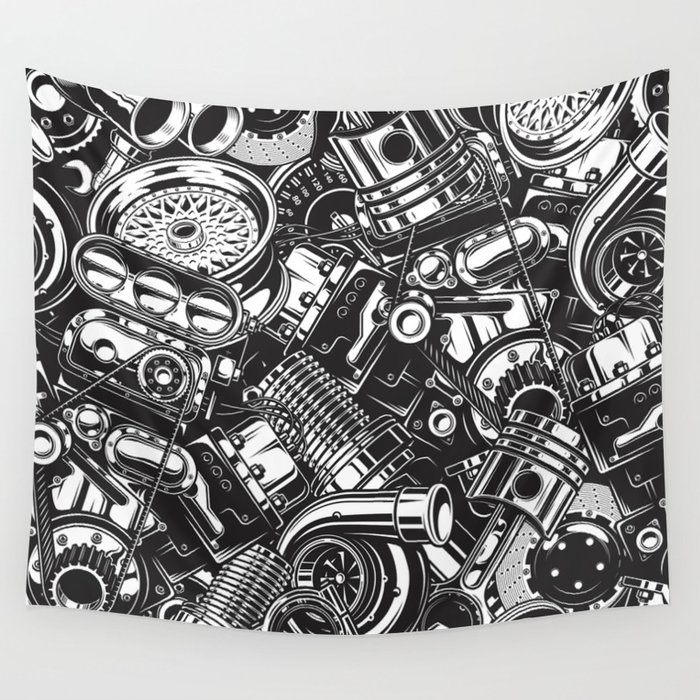 Automobile car parts pattern Wall Tapestry