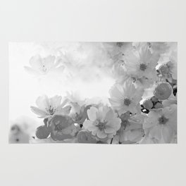 CHERRY BLOSSOMS GRAY AND WHITE Rug