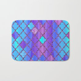 Moroccan Tile Pattern In Purple And Aqua Blue Bath Mat