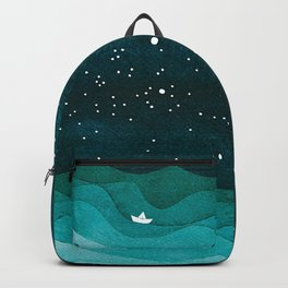 Starry Ocean, teal sailboat watercolor sea waves night Backpack