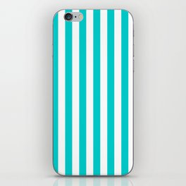 Narrow Vertical Stripes - White and Cyan iPhone Skin