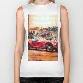 Retro racing car painting Biker Tank