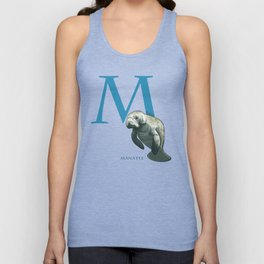 M is for Manatee: Under Appreciated Animals™ ABC nursery decor sea life red unusual animals Unisex Tank Top