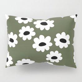 Little retro wild flower daffodil daisy white forest green Pillow Sham