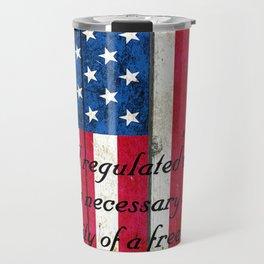 2nd Amendment on American Flag - Vertical Print Travel Mug