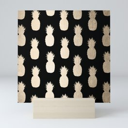 Gold Pineapples Pattern Black Mini Art Print