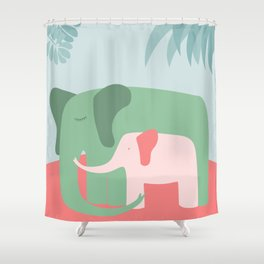 Mama Elephant (blue version) Shower Curtain