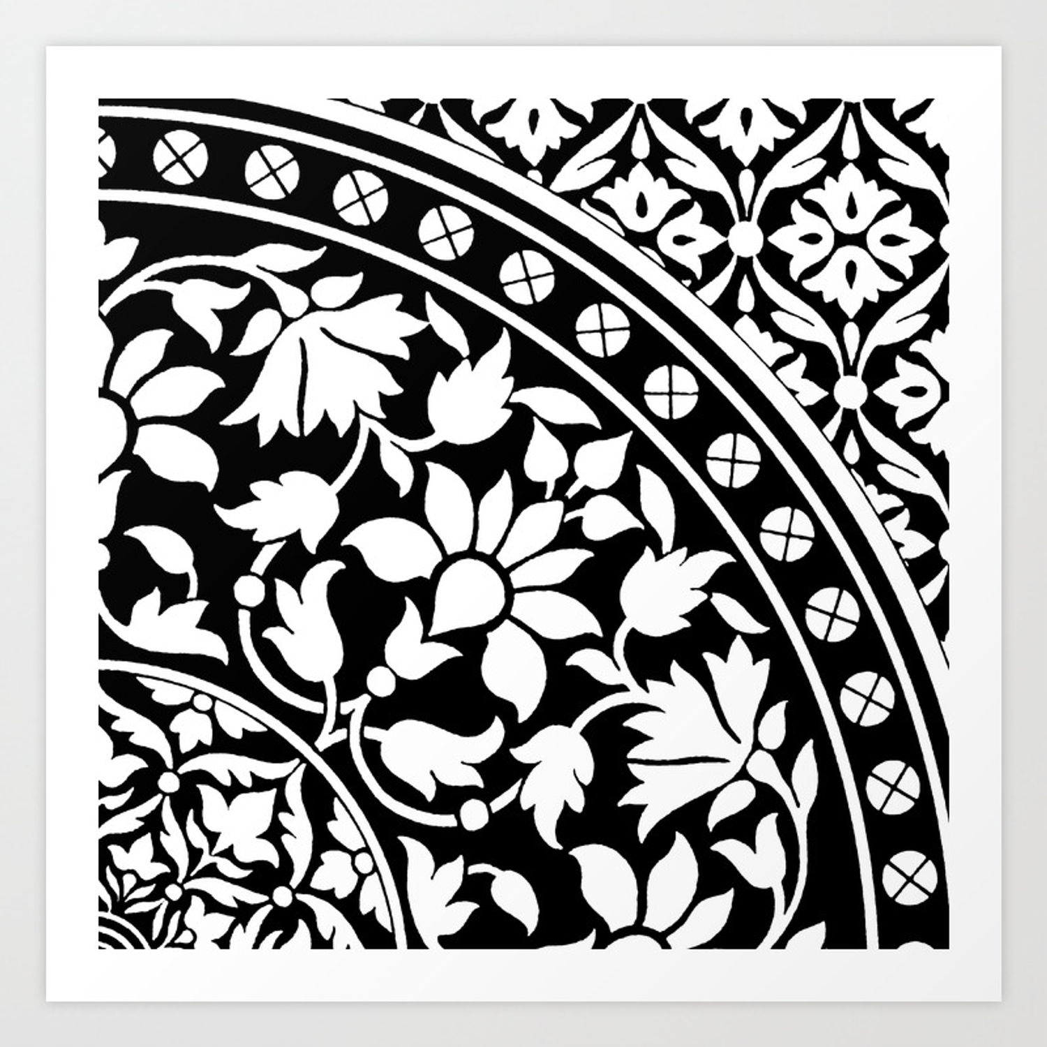 Indian Black And White Floral Geometric Pattern Art Print By
