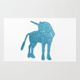 Giltter Unicorn - tuequoise blue Rug