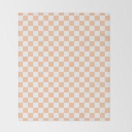 White and Deep Peach Orange Checkerboard Throw Blanket