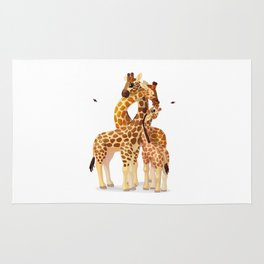 Cute giraffes loving family Rug