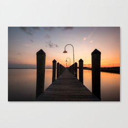 Rusty Rudder Dock Sunset Canvas Print