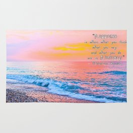 Happiness Quote Mahatma Gandhi Rug
