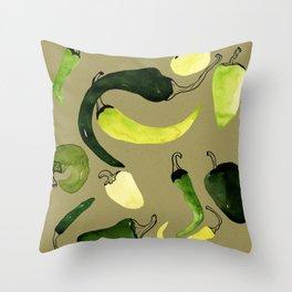 Green Peppers Throw Pillow