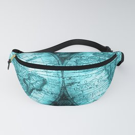 Turquoise Antique World Map Fanny Pack