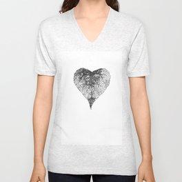 heart b&w Unisex V-Neck