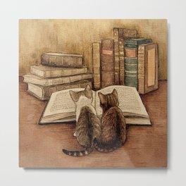 Kittens Reading A Book Metal Print